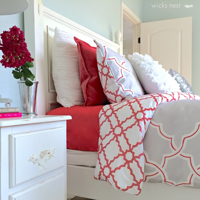Girls Bedroom with Accents of Coral