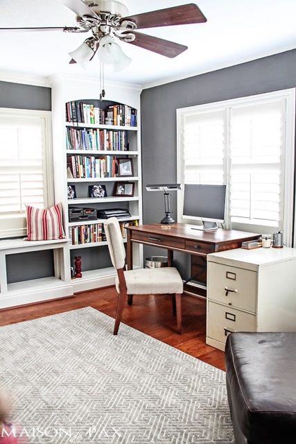 Office Space with Built-in Bookshelves
