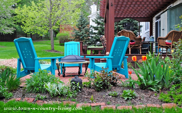 Backyard Patio with Turquoise Chairs