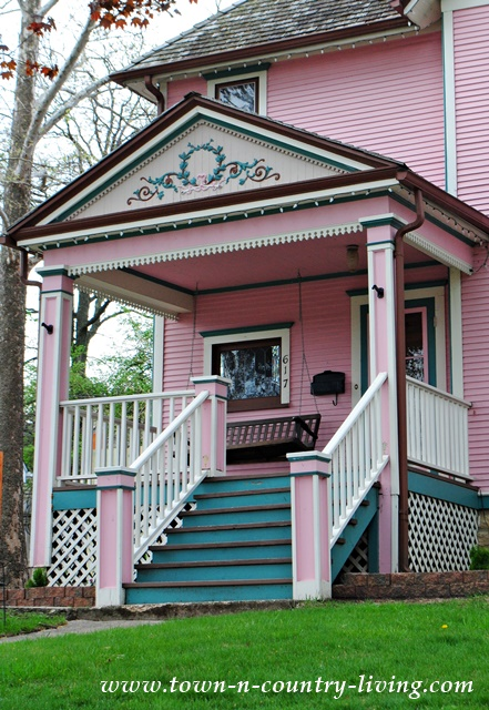 Front Porch of a Pink Victorian Home