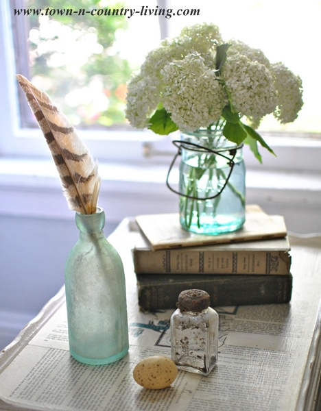 Table Top Vignette with Vintage Books