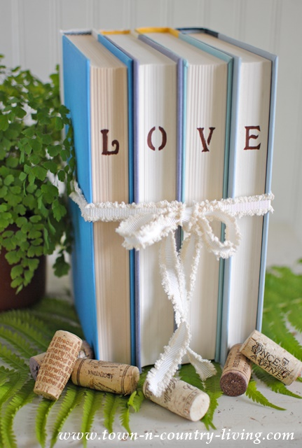 Stenciled Words on Books via www.town-n-country-living.com