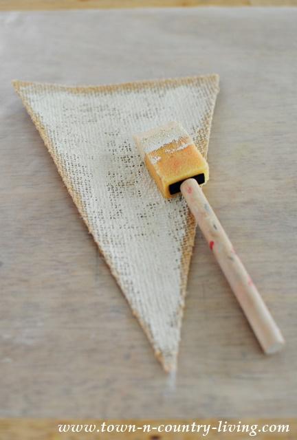 Painted Burlap Triangles