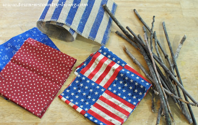 Tutorial for making DIY mini flags from fabric and sticks