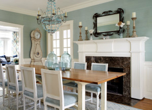 Iron and Blue Glass Chandelier in Dining Room