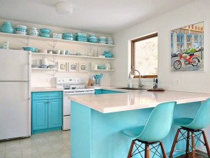 Cottage Style Kitchen in Turquoise and White