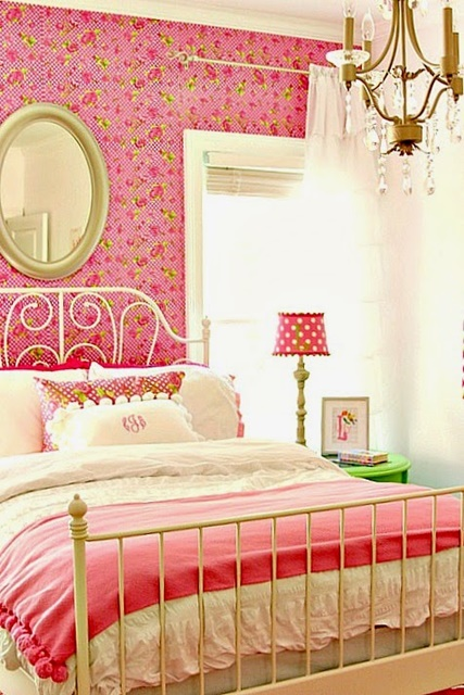 Pink and White Girls Charming Bedroom