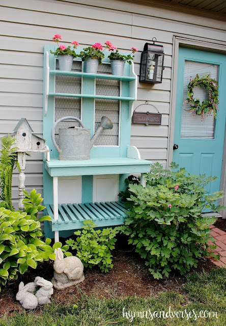 Painted Potting Bench