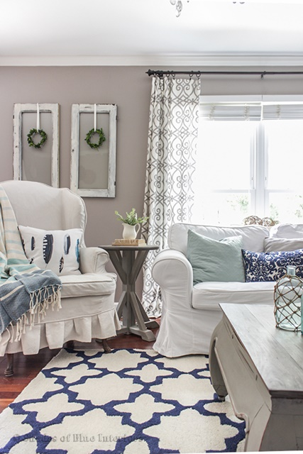 blue and white living room at shades of blue interiors