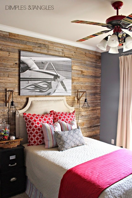 Boys Bedroom with Planked Walls