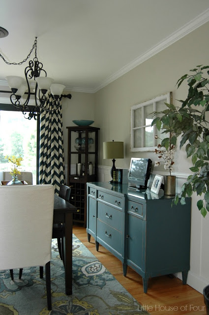 Painted buffet in charming dining room