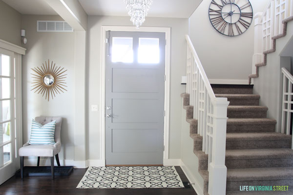 Traditional Entryway with Gray Painted Door