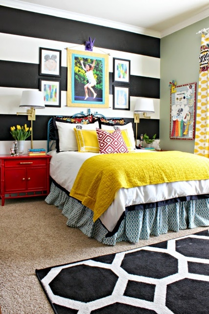 Girls Bedroom with Striped Walls