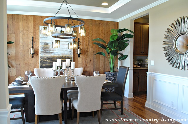 Industrial chic model home town country living for Model home dining room