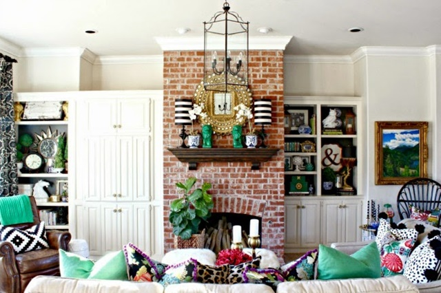 Traditional Living Room with Brick Fireplace