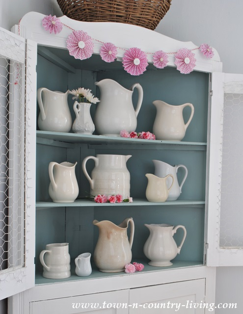 White Ironstone in Corner China Cabinet