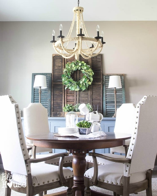Dining Room with Rope Chandelier