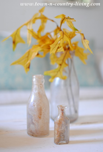 Fall Vignette with Vintage Bottles