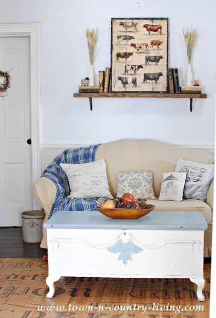 Fall Mantel in a Farmhouse Living Room