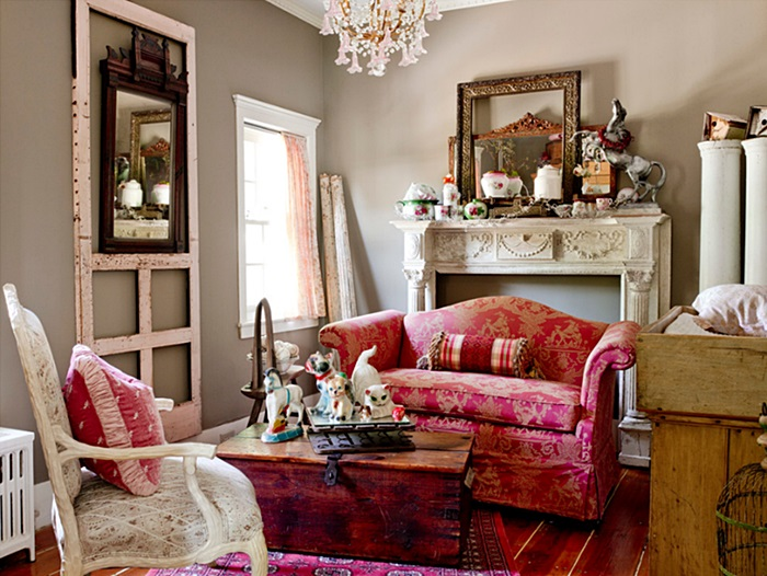 Red in a Farmhouse Living Room