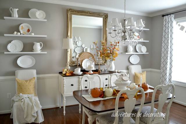 Traditional dining room decorated for fall