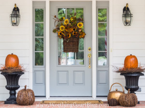 Painted Front Door on Fall Porch