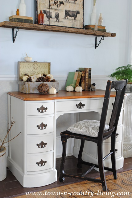 painted desk in varnished ivory town country living