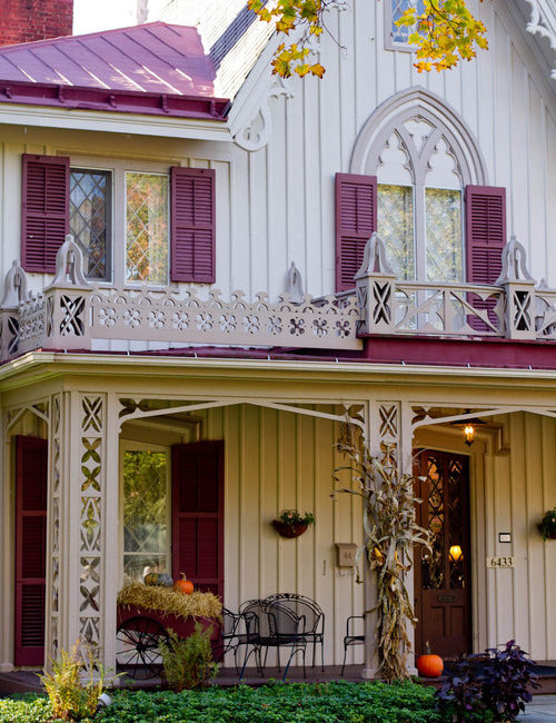 Victorian Farmhouse Porch Decorated for Fall