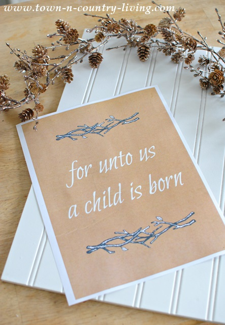 Free Christmas Printable. For Unto Us a Child is Born