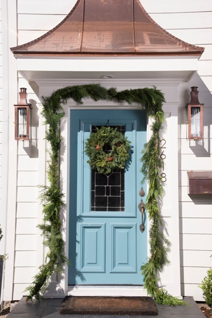 Blue Door with Christmas Wreath at Houzz