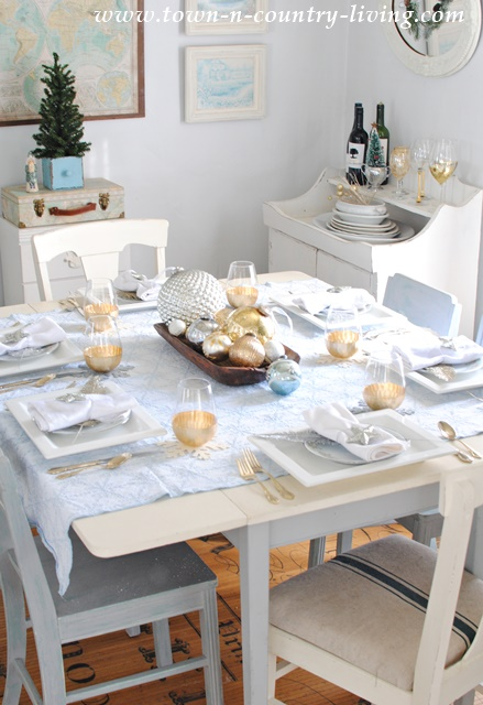 Christmas Table Setting in Blue, Gold, and Silver