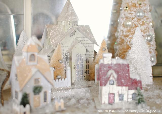 Glittery Putz Houses
