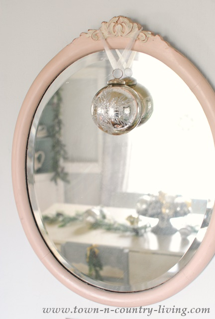 Mirrors decorated for Christmas
