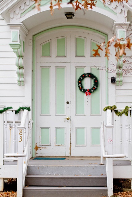 Pastel Green and White Door at Houzz & Decorating the Christmas Porch: 19 Ideas - Town u0026 Country Living pezcame.com