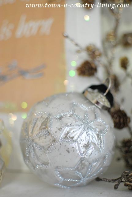 Glittery White Christmas Ornament