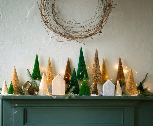Christmas Mantel Ideas with Bottle Brush Trees and More