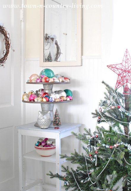 Cupcake Stand filled with Vintage Ornaments