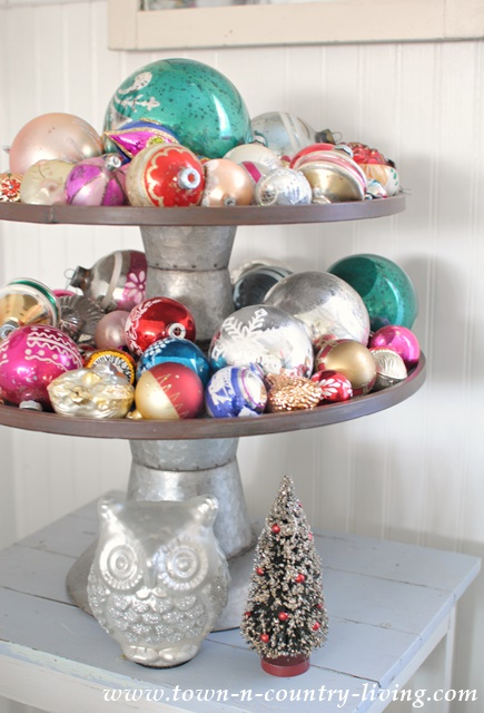 Tiered Cupcake Stand filled with Vintage Christmas Ornaments