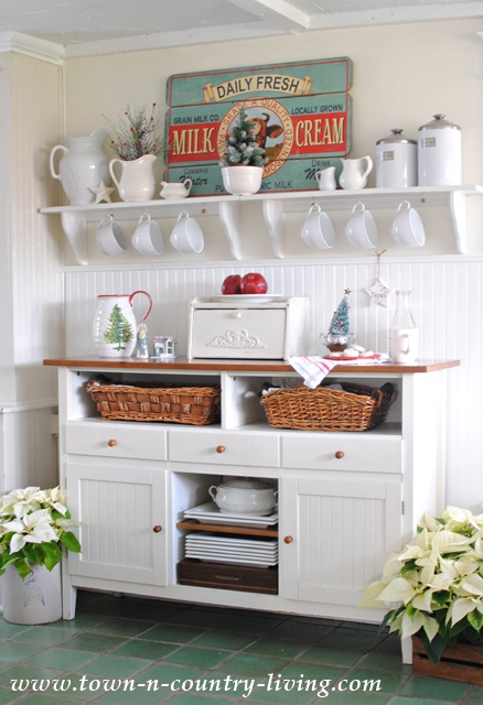 Kitchen Sideboard Decorated for Christmas