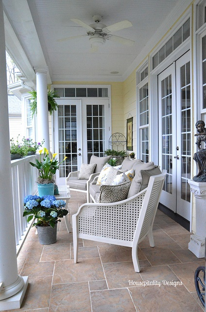 Traditional Porch with Wicker Furniture