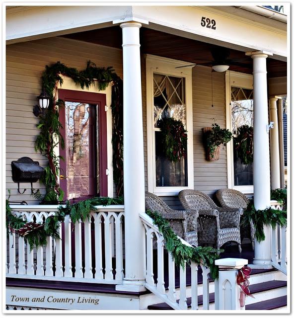 Traditional Christmas Porch in Geneva, Illinois