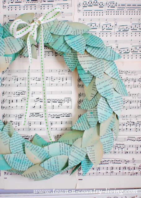 How to make a color washed book page wreath