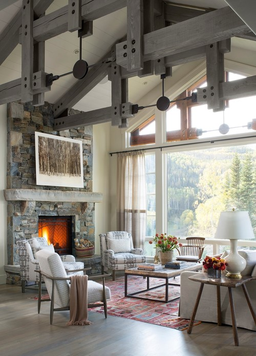 Rustic Living Room By Seattle Interior Designers Decorators Massucco