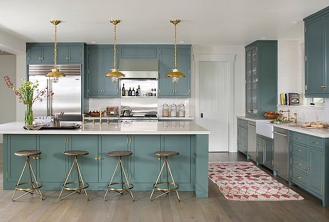 Traditional Kitchen with Blue Painted Kitchen Cabinets