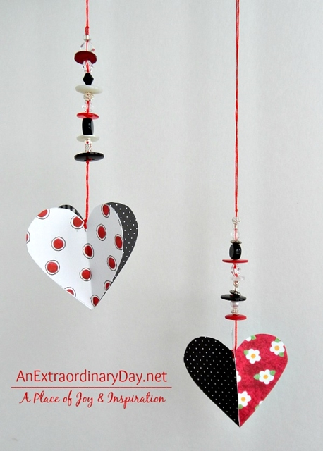 Dangling Valentine's Day Heart Ornaments
