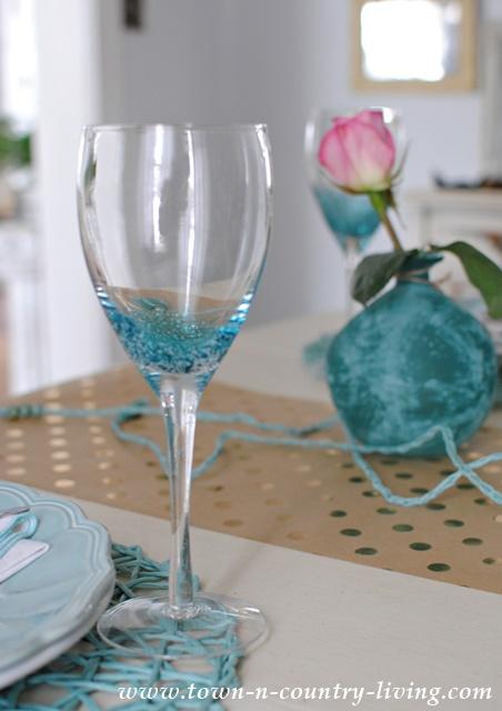 Blue Bubble Glass Goblets