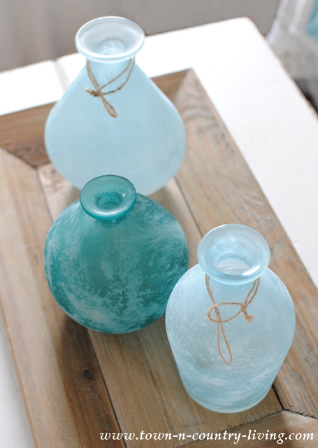 Cool Blue Glass Vases on Wooden Tray