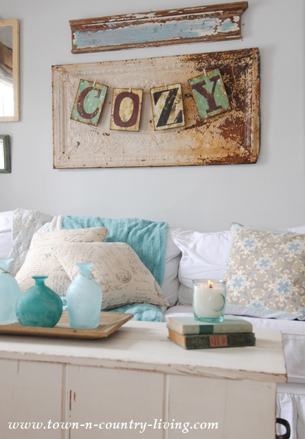 Cozy Sign in Farmhouse Family Room