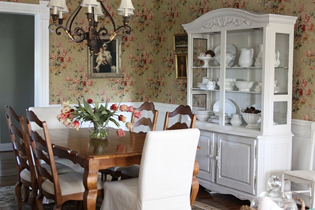 Farmhouse Dining Room With Wallpaper