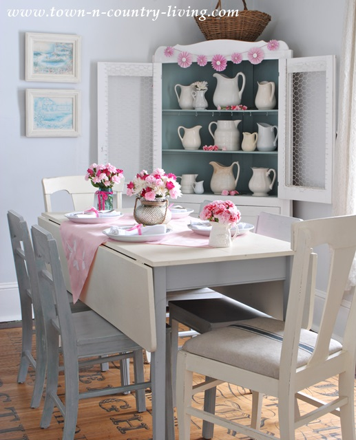 Dining Room with Farm Table at Valentine's Day